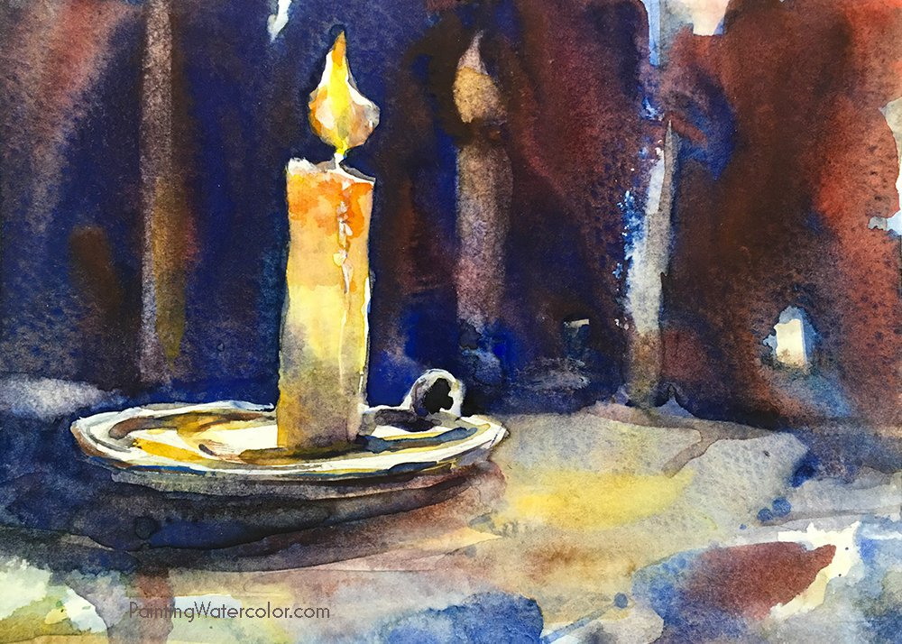 DIY Christmas Card candle watercolor painting