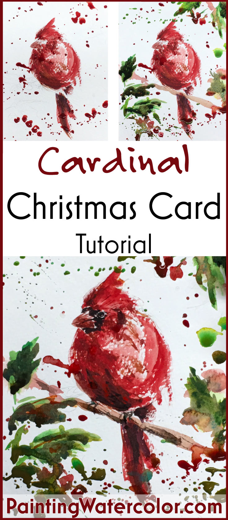 Paint beautiful Christmas cards for your family and friends! I show you step by step how to paint a beautiful cardinal bird.