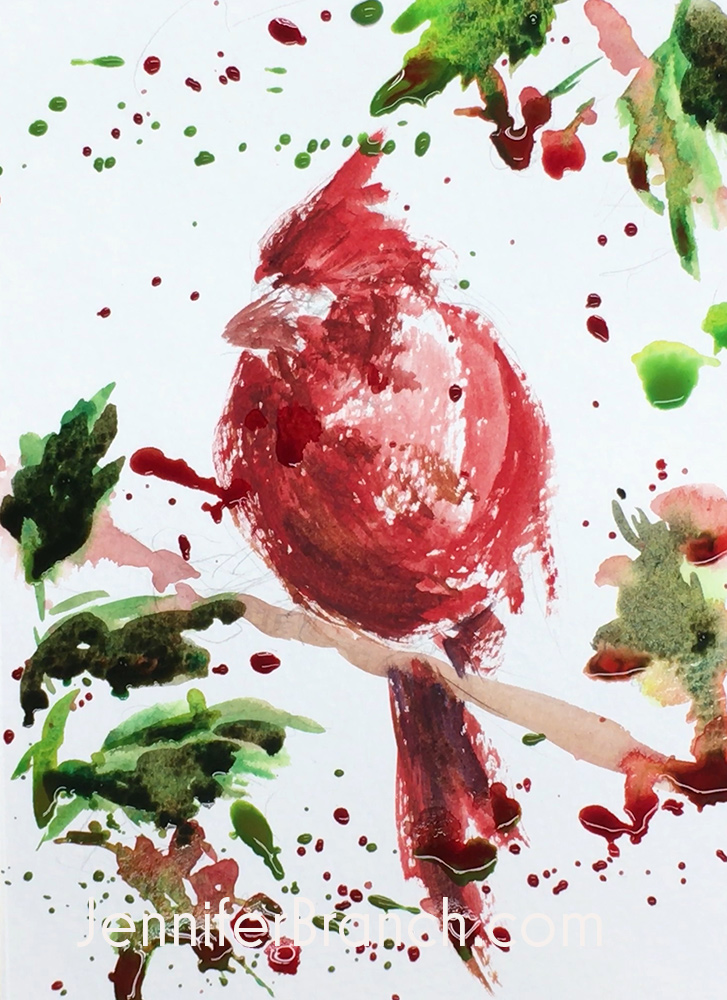 How to paint a Christmas Card with red Cardinal bird step 3, watercolor