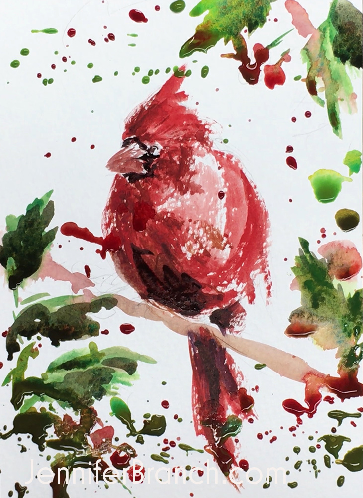 Cardinal Christmas Card Painting Tutorial, Step 4