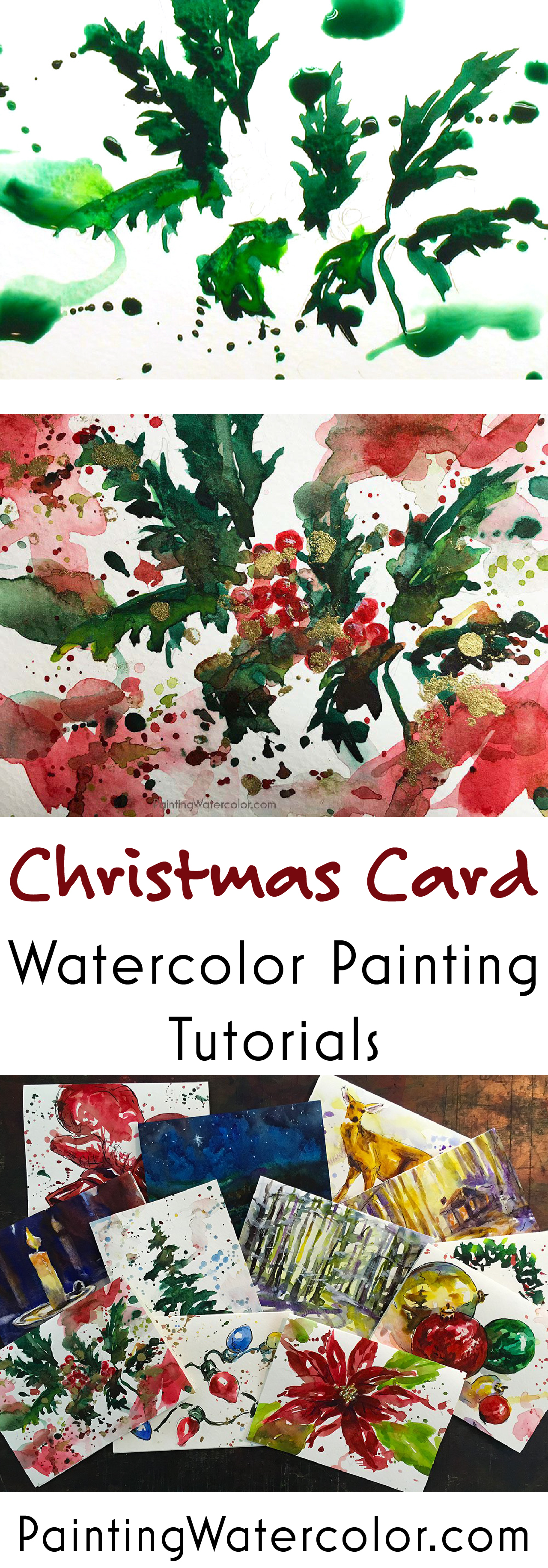 Paint beautiful Christmas cards for your family and friends! I show you step by step how to paint cheerful holly on a Christmas card.