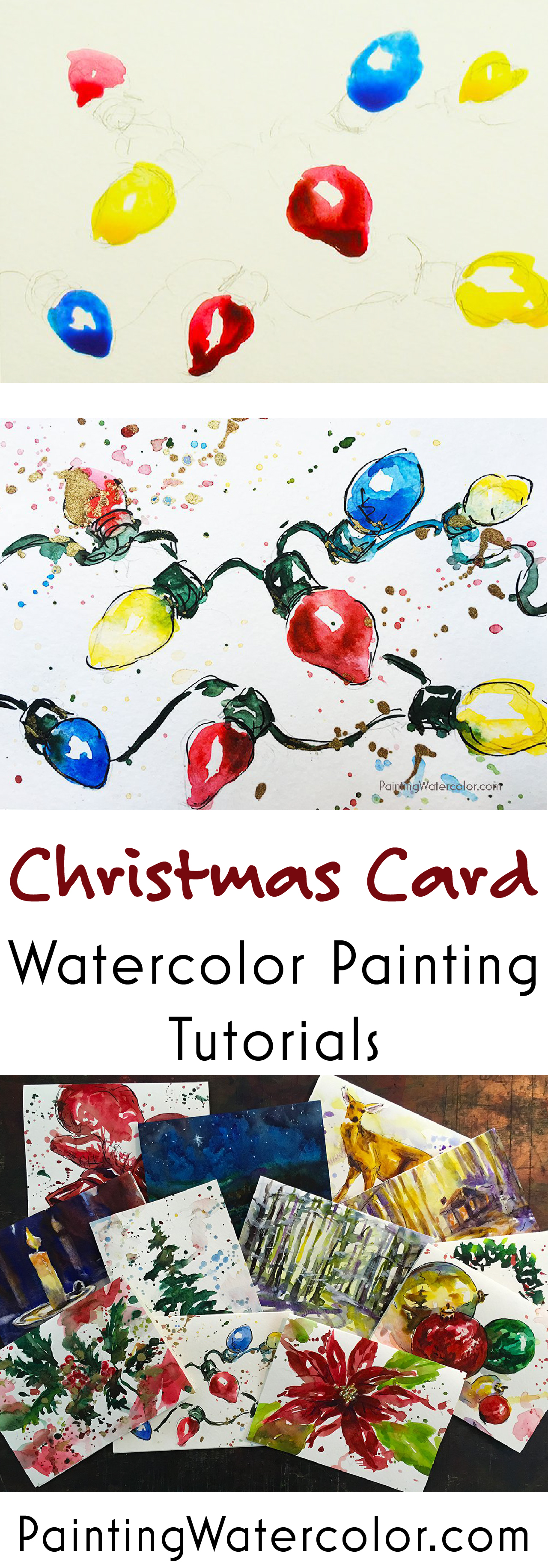 Paint beautiful Christmas cards for your family and friends! I show you step by step how to paint fun retro lights on a Christmas card.