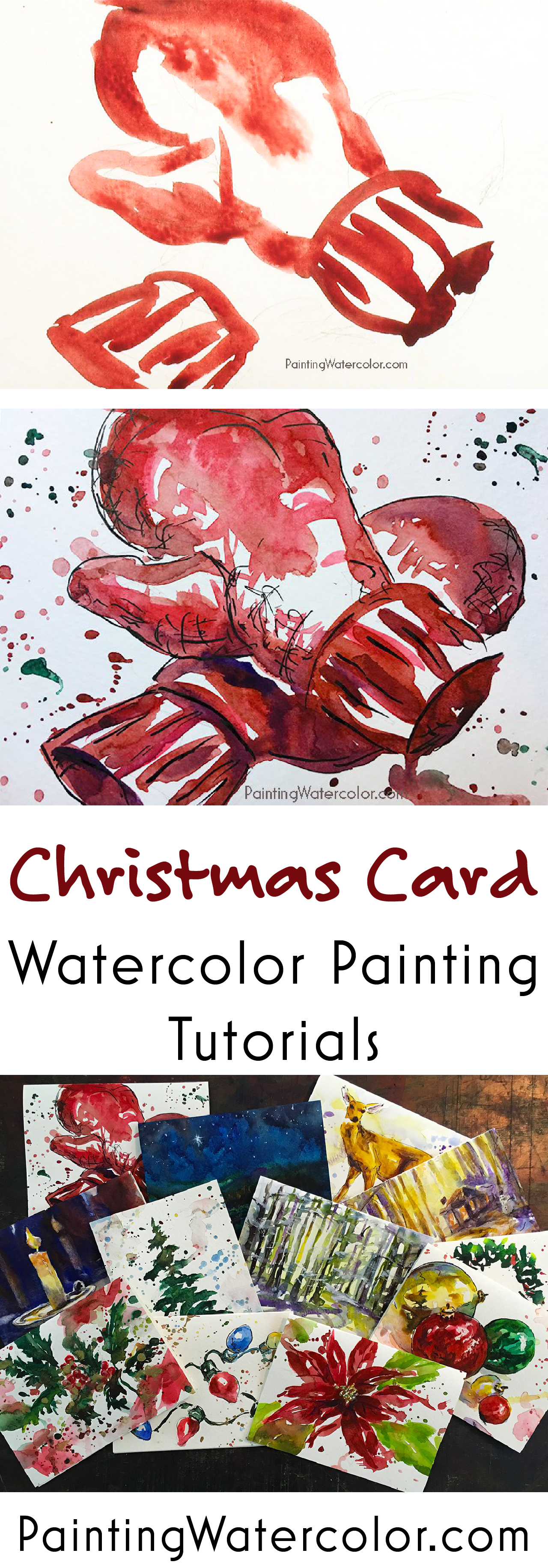 Paint beautiful Christmas cards for your family and friends! I show you step by step how to paint warm and cozy mittens on a Christmas card.