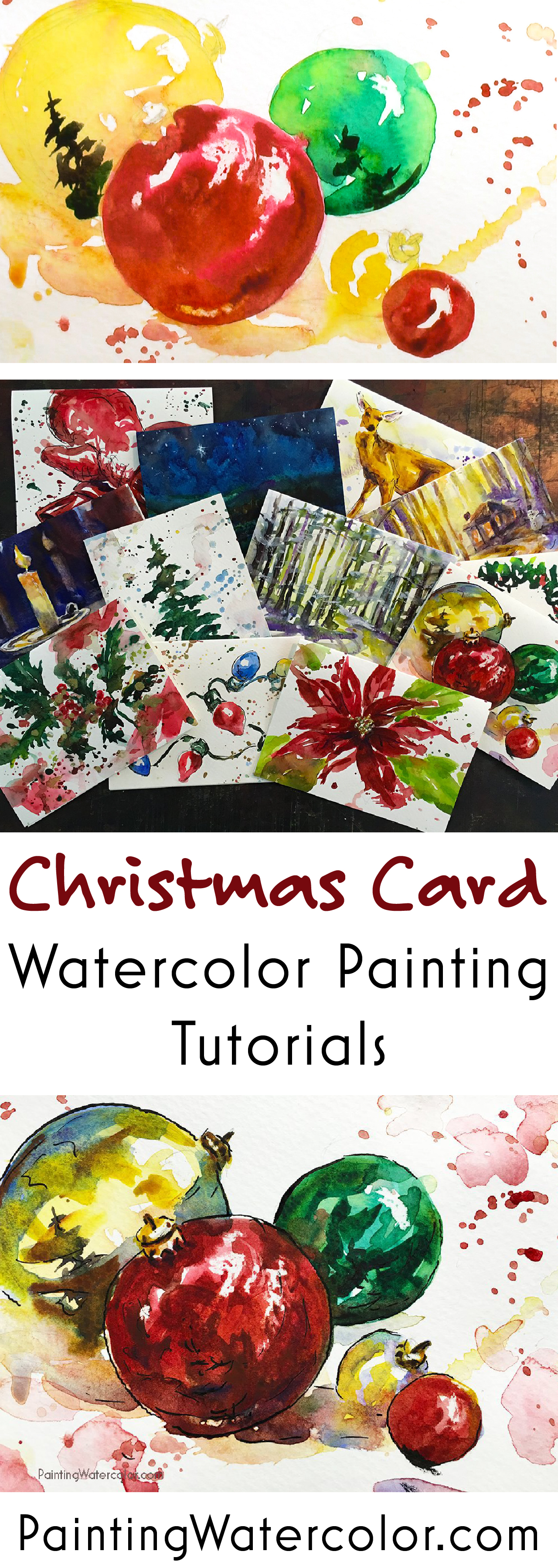 Paint beautiful Christmas cards for your family and friends! Here are some lovely ornaments for your Christmas cards. Youtube video painting tutorial!