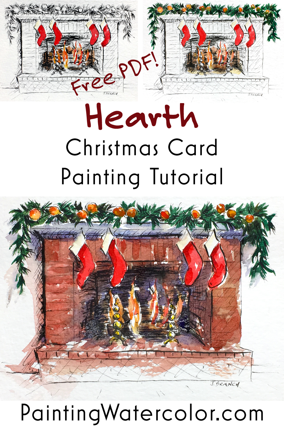 Paint a cozy Christmas hearth while you are curled up next to the fire. Printable included, so no drawing necessary!
