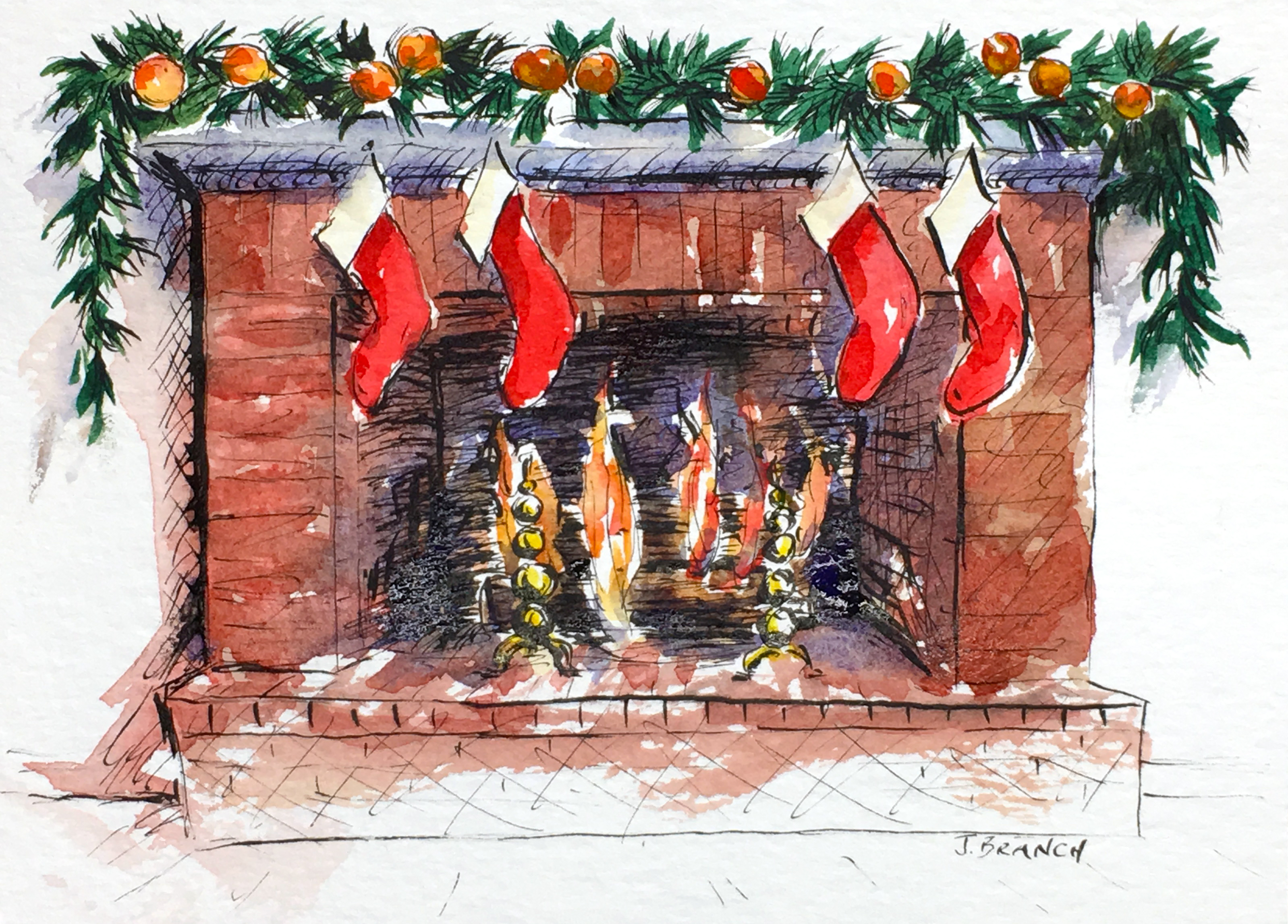 Hearth Christmas Card Painting Tutorial