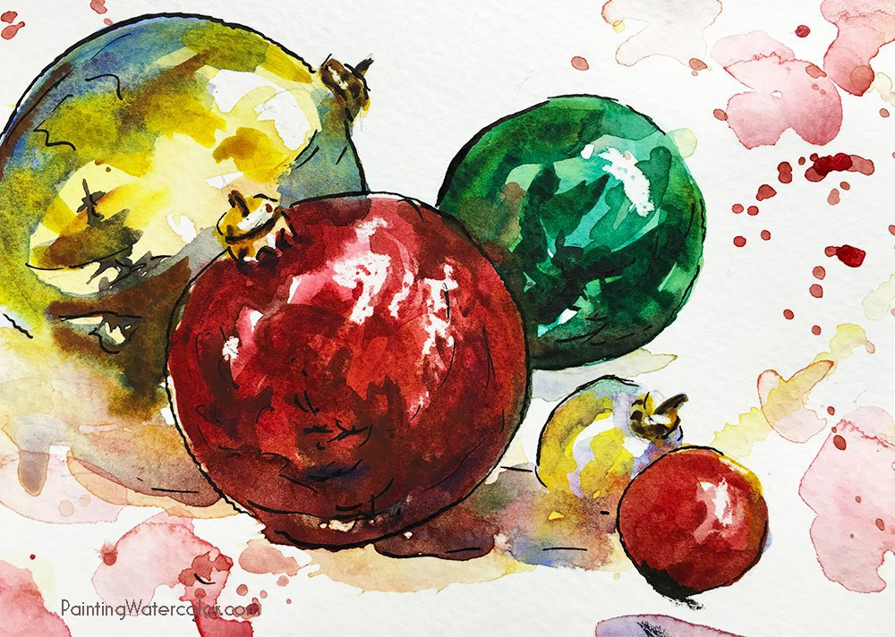 Christmas Card ornaments watercolor painting tutorial