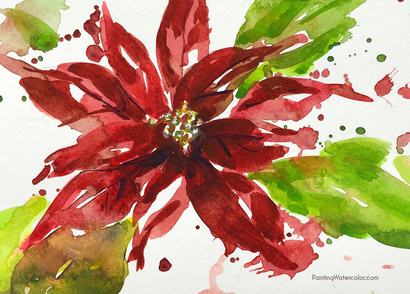 12 Days of Christmas Cards, Poinsettia by Jennifer Branch