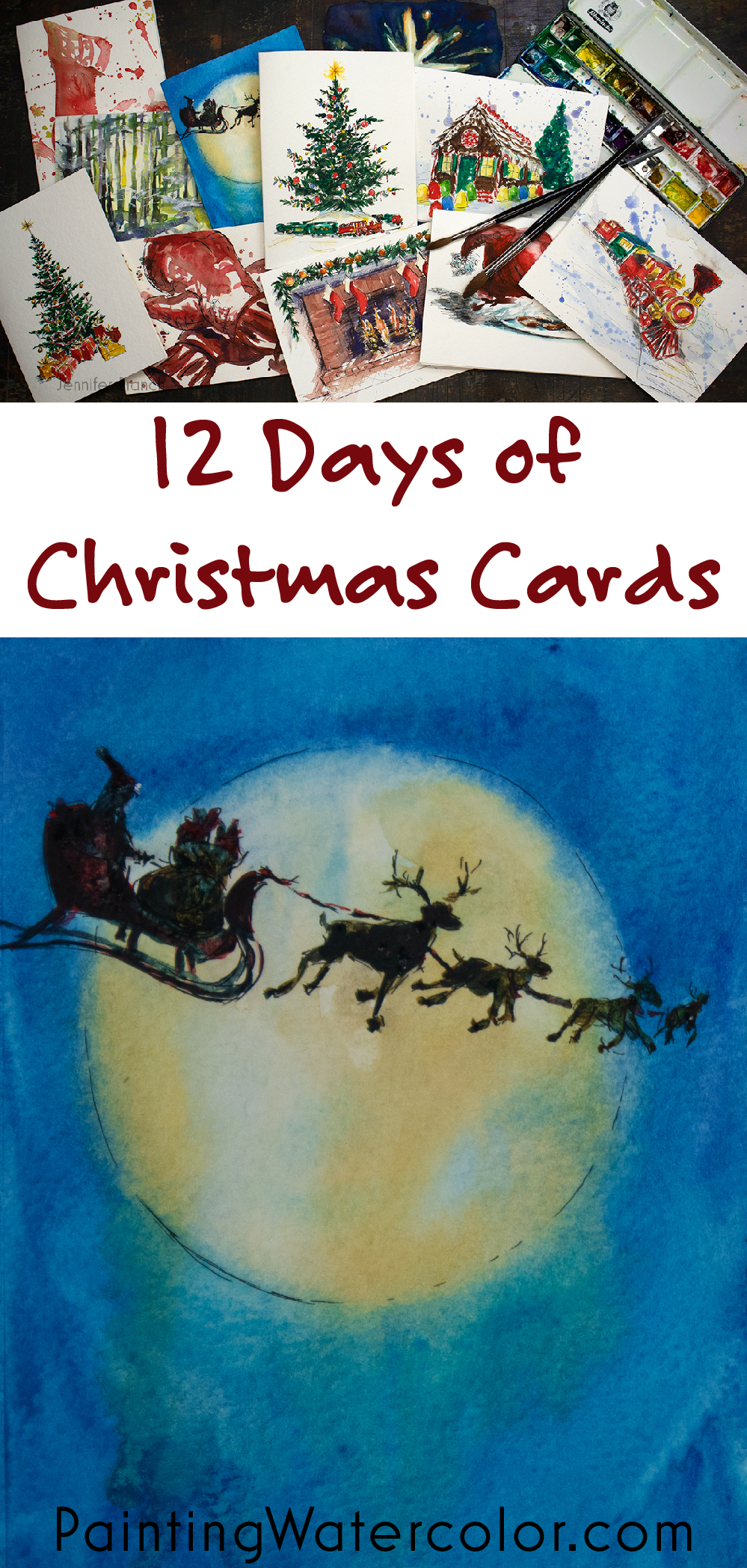 Paint beautiful Christmas cards for your family and friends! In the introduction, I show you all the materials you need to watercolor paint this beautiful Moon with Santa card.