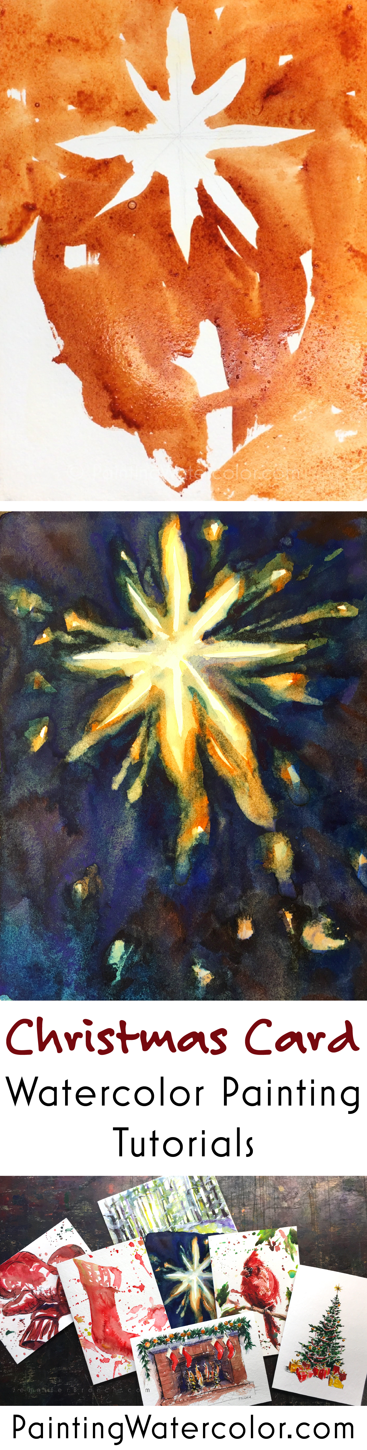 Paint the true meaning of Christmas and the Bethlehem star for your loved ones with this beautiful card.