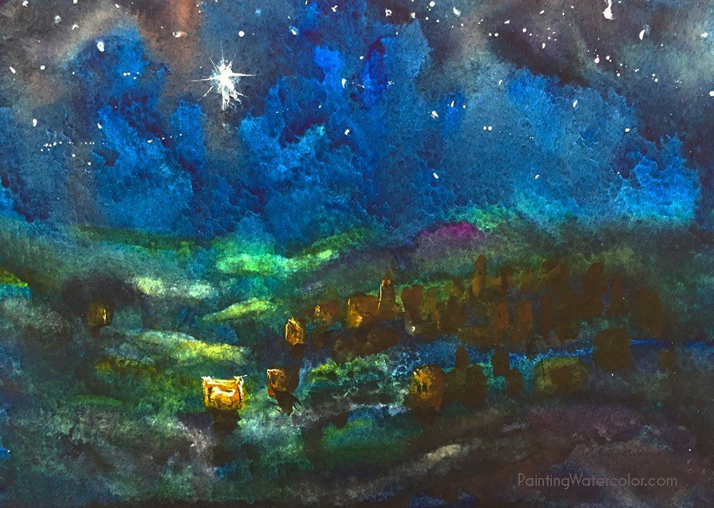 12 Days of Christmas Cards, Starry Night by Jennifer Branch