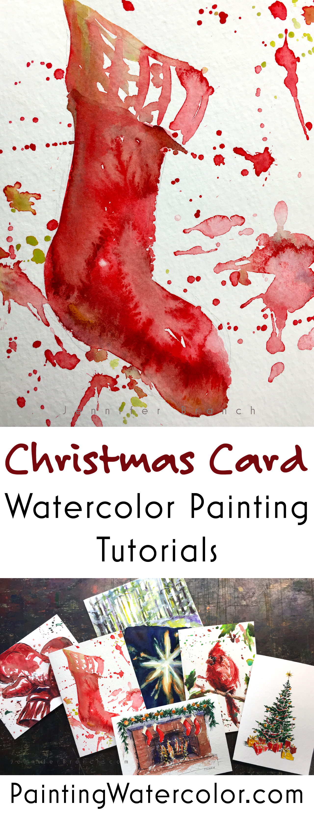 Paint beautiful Christmas cards for your family and friends. This charming Christmas stocking takes less than 5 minutes to paint! Youtube video!