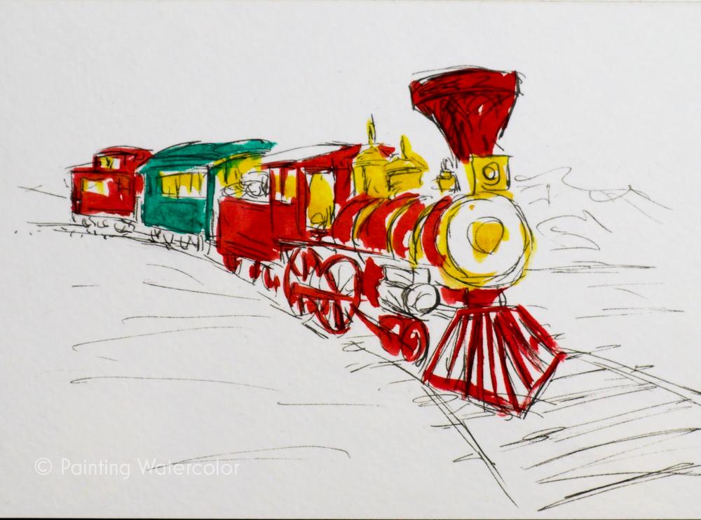 Christmas Card Train Tutorial 3