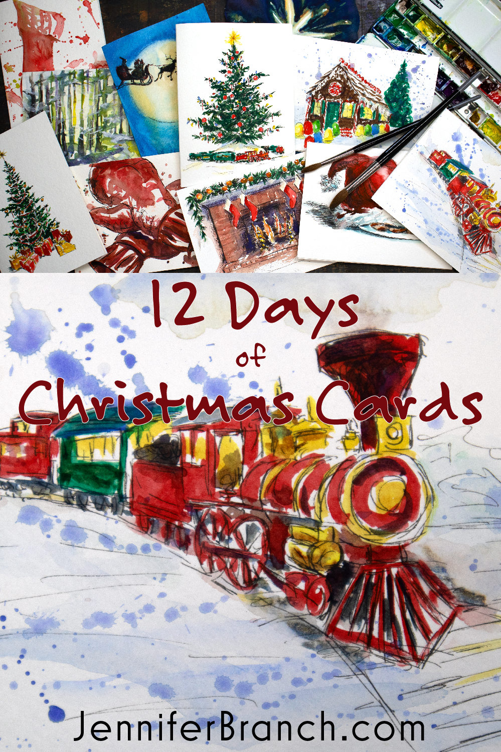 Paint beautiful Christmas cards for your family and friends! In the introduction, I show you all the materials you need to watercolor paint a train card.