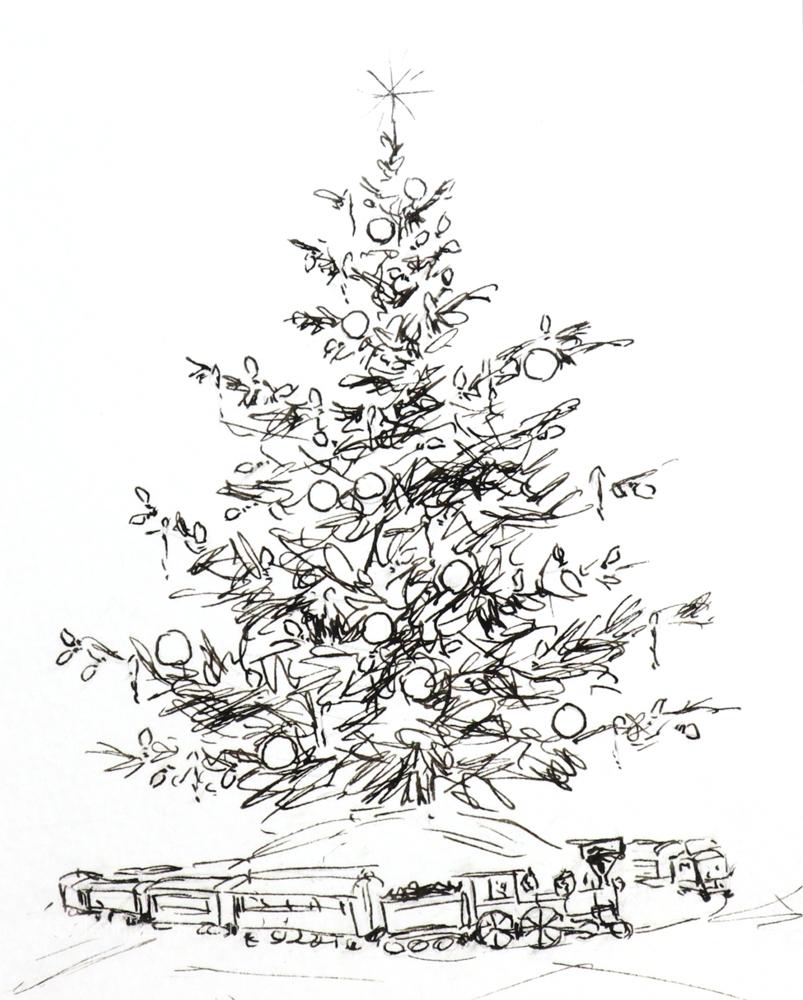 12 Days of Christmas Cards, Train Christmas-Tree