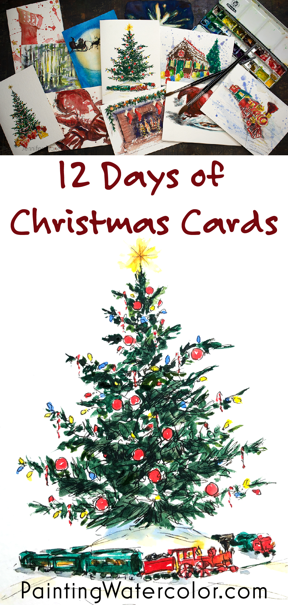 Paint beautiful Christmas cards for your family and friends! In the introduction, I show you all the materials you need to watercolor paint this beautiful Christmas tree card.