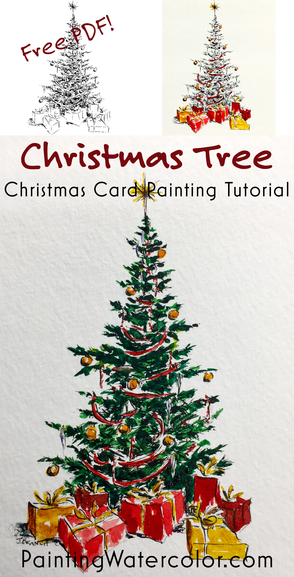 Paint a beautiful Christmas tree for your Christmas cards. Free printable PDF and YouTube video!