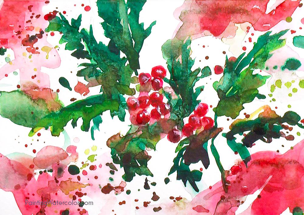 Christmas Card holly 3