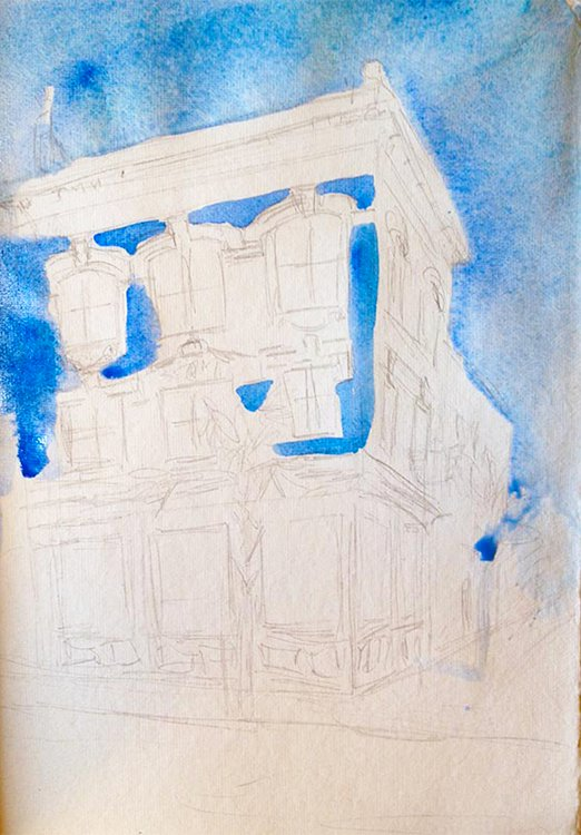 sketching a blue house in Charleston 1