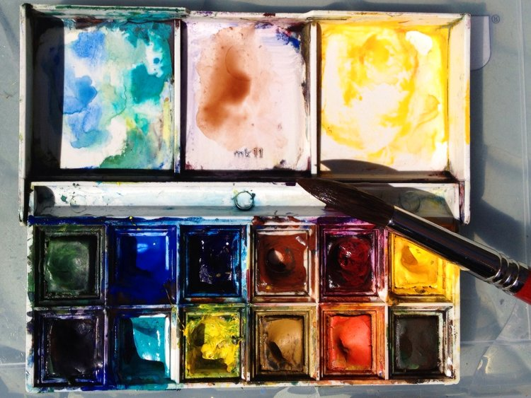 Winsor and Newton watercolor painting palette