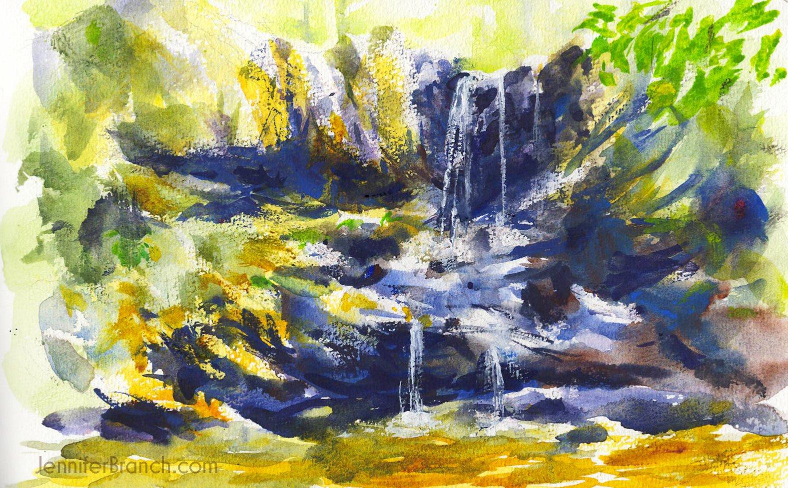 High Shoals Falls Sketch by Jennifer Branch