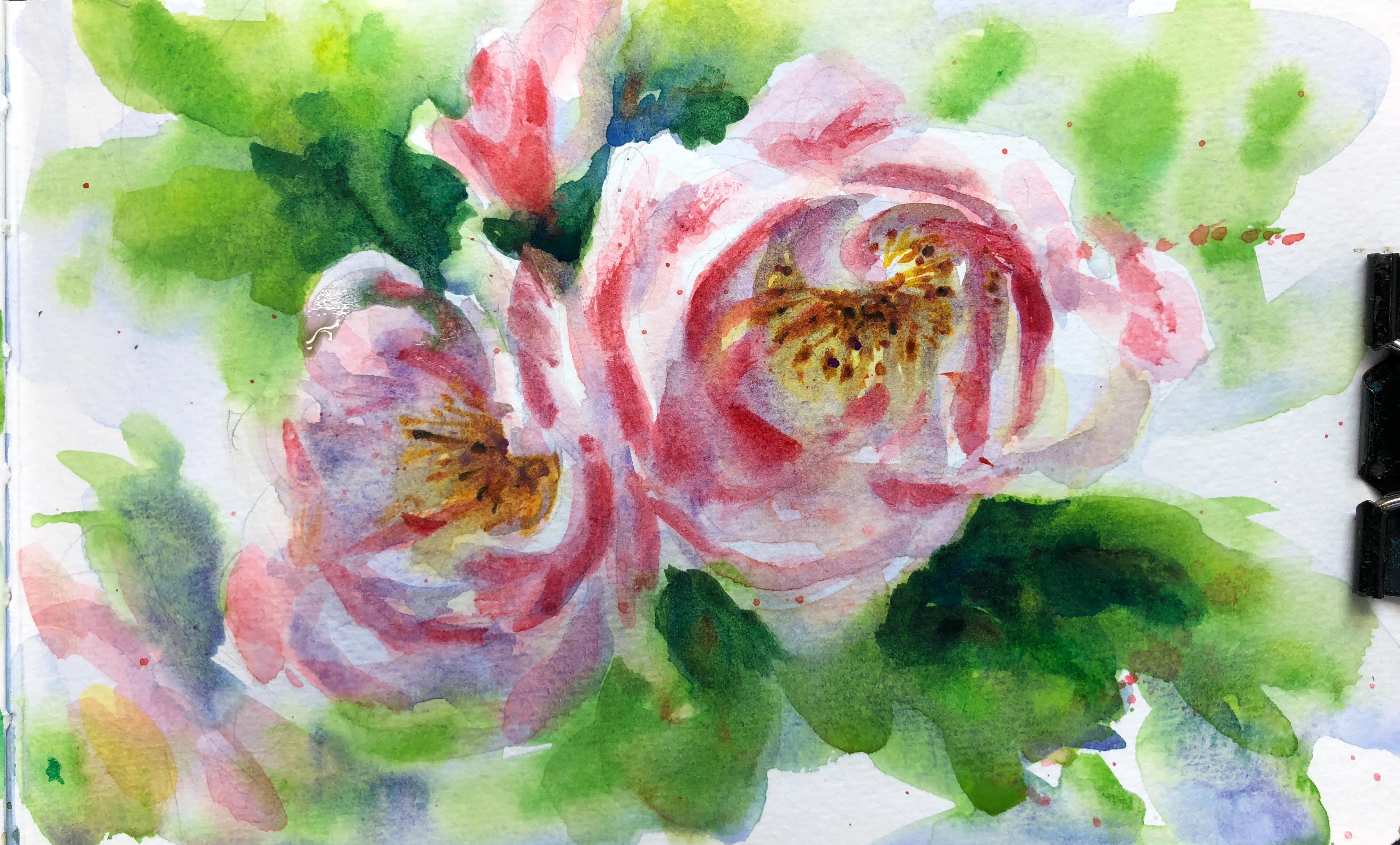 YouTube painting tutorial rose sketch