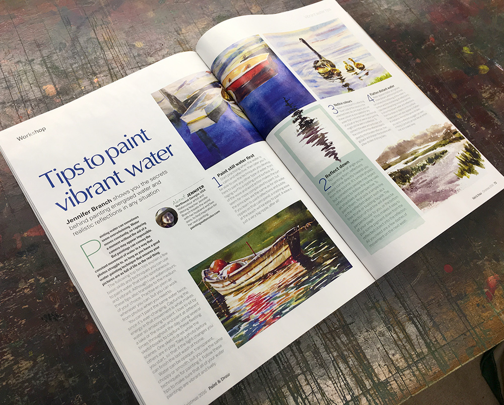 Watercolor Painting article by Jennifer Branch in Paint & Draw Magazine.