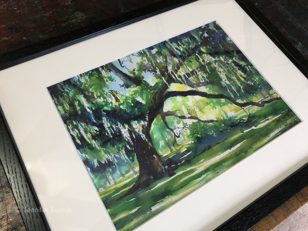 Live Oak print in black frame on way to new home.