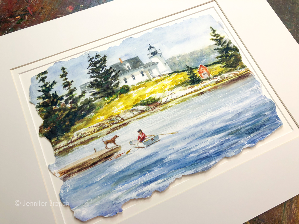 The original watercolor painting on the way to its new home.