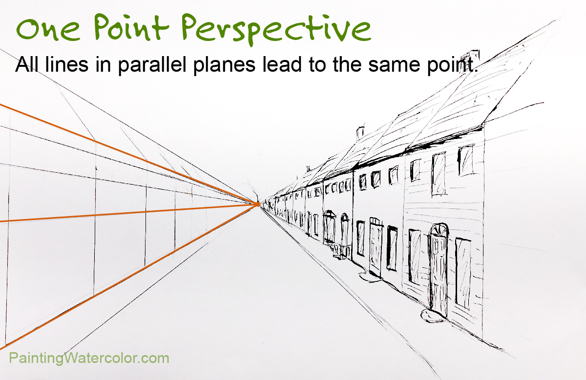 one point perspective lines