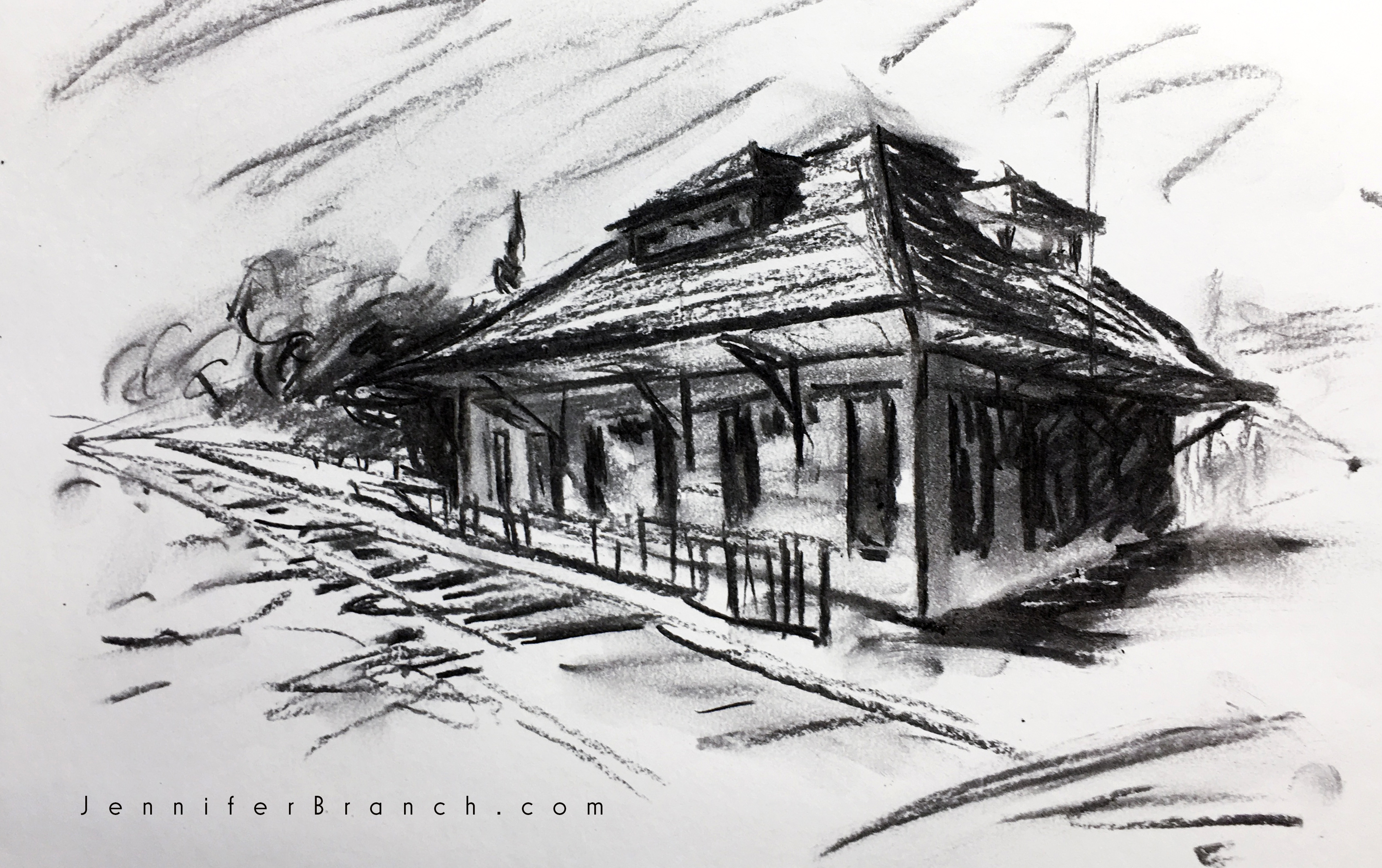 train station drawing