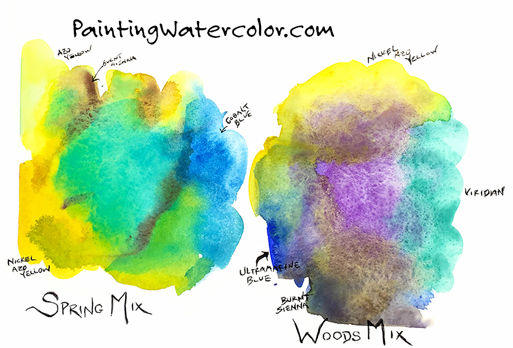 How to Mix Greens watercolor painting lesson