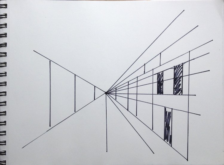 Drawing Using Lines Only : One point perspective drawings watercolor painting lesson