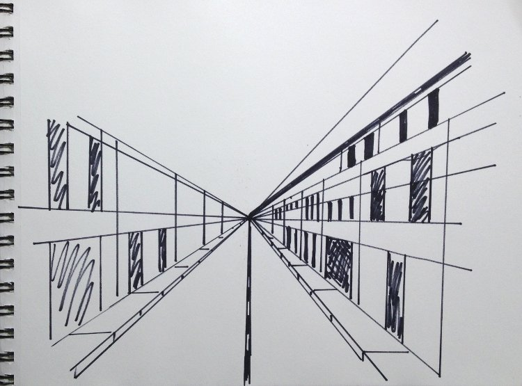 Drawing With Horizontal Lines : One point perspective drawings watercolor painting lesson