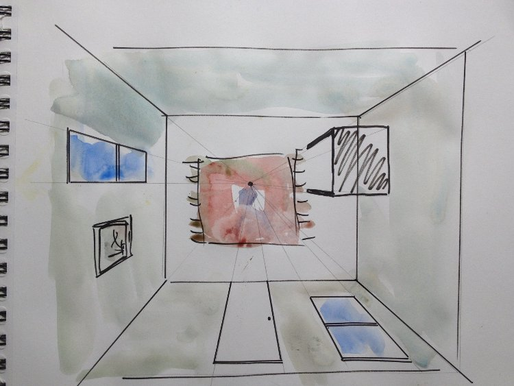 One Point Perspective Drawings Watercolor Painting Lesson