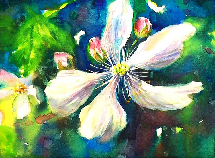 Painting Blackberry Flowers  Watercolor Painting Tutorial 7