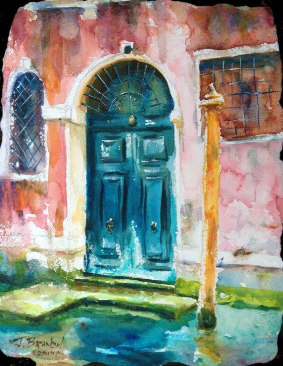 Blue Door, Venice Watercolor Painting tutorial
