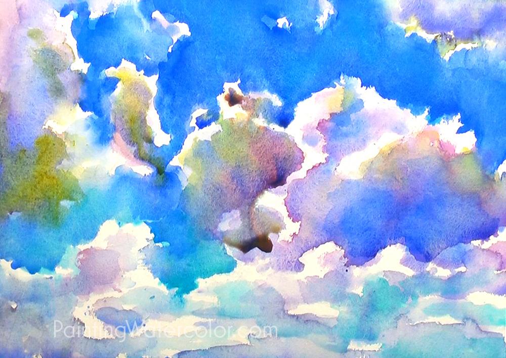 Blue Sky Sketching Watercolor Painting Tutorial 6