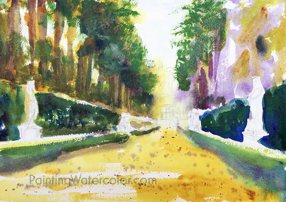 Boboli Gardens Painting Tutorial 4