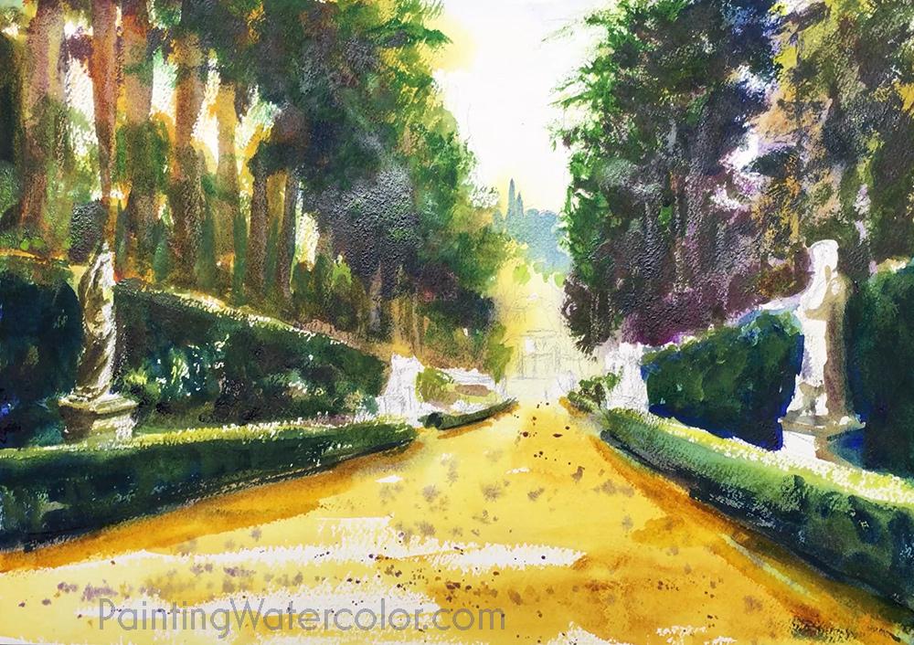 Boboli Gardens Watercolor Painting Tutorial 6