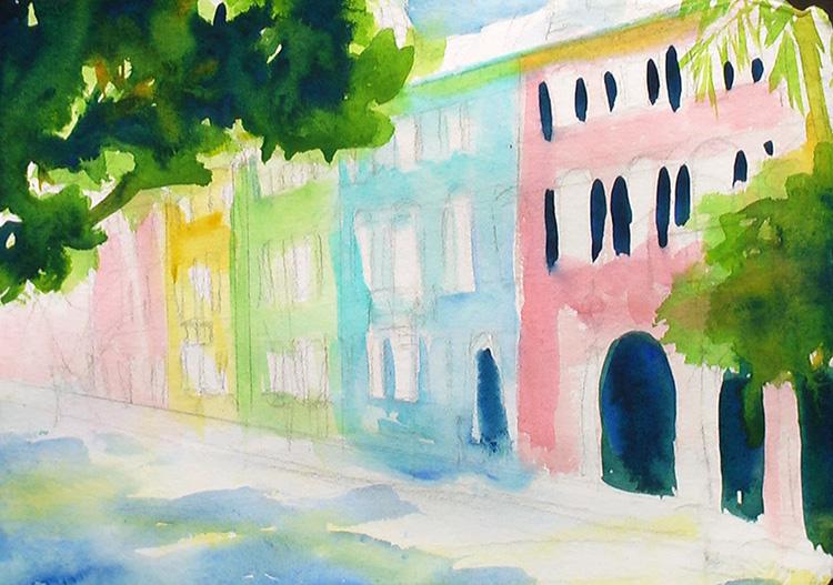 Painting Rainbow Row, Charleston Painting Tutorial 3