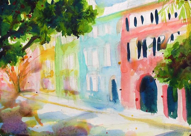 Painting Rainbow Row, Charleston Painting Tutorial 4