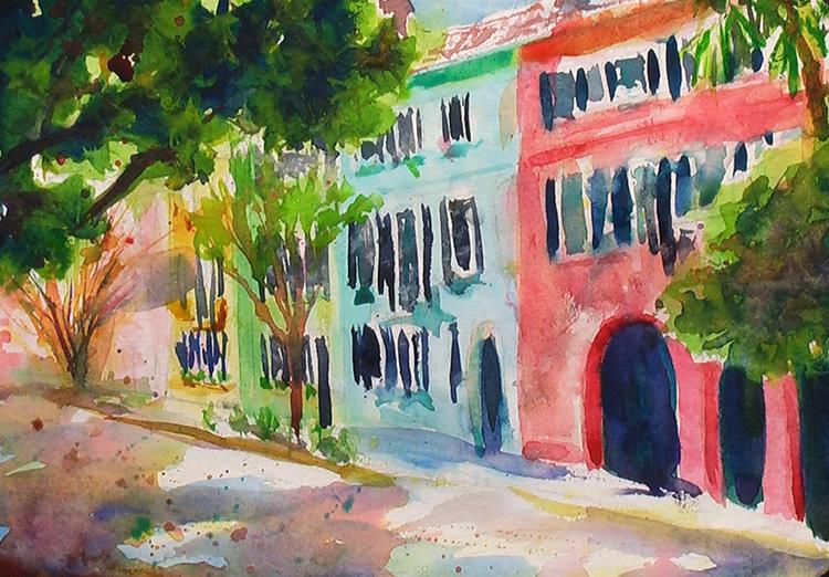 Painting Rainbow Row, Charleston Watercolor Painting Tutorial 6