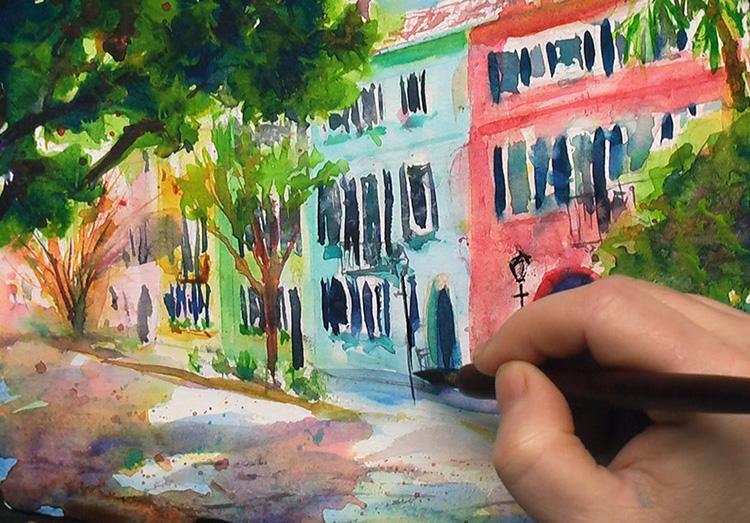 Painting Rainbow Row, Charleston Watercolor Painting Tutorial 7