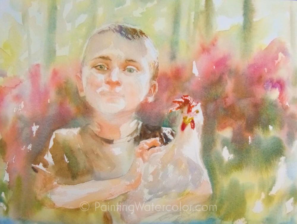 Chicken Wrangler Watercolor Painting Tutorial 7