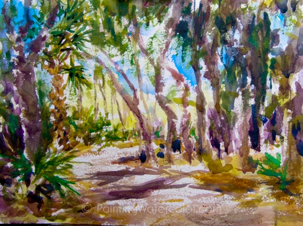 Coastal Road Sketch Watercolor Painting Tutorial 7