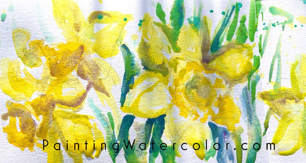 Daffodils Watercolor Sketch Watercolor Painting Tutorial 6
