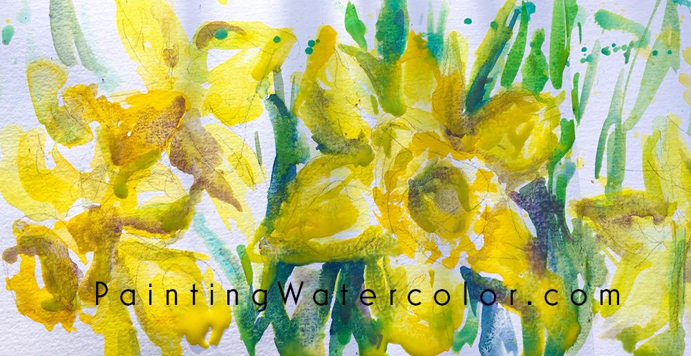 Daffodils Watercolor Sketch Watercolor Painting Tutorial 7