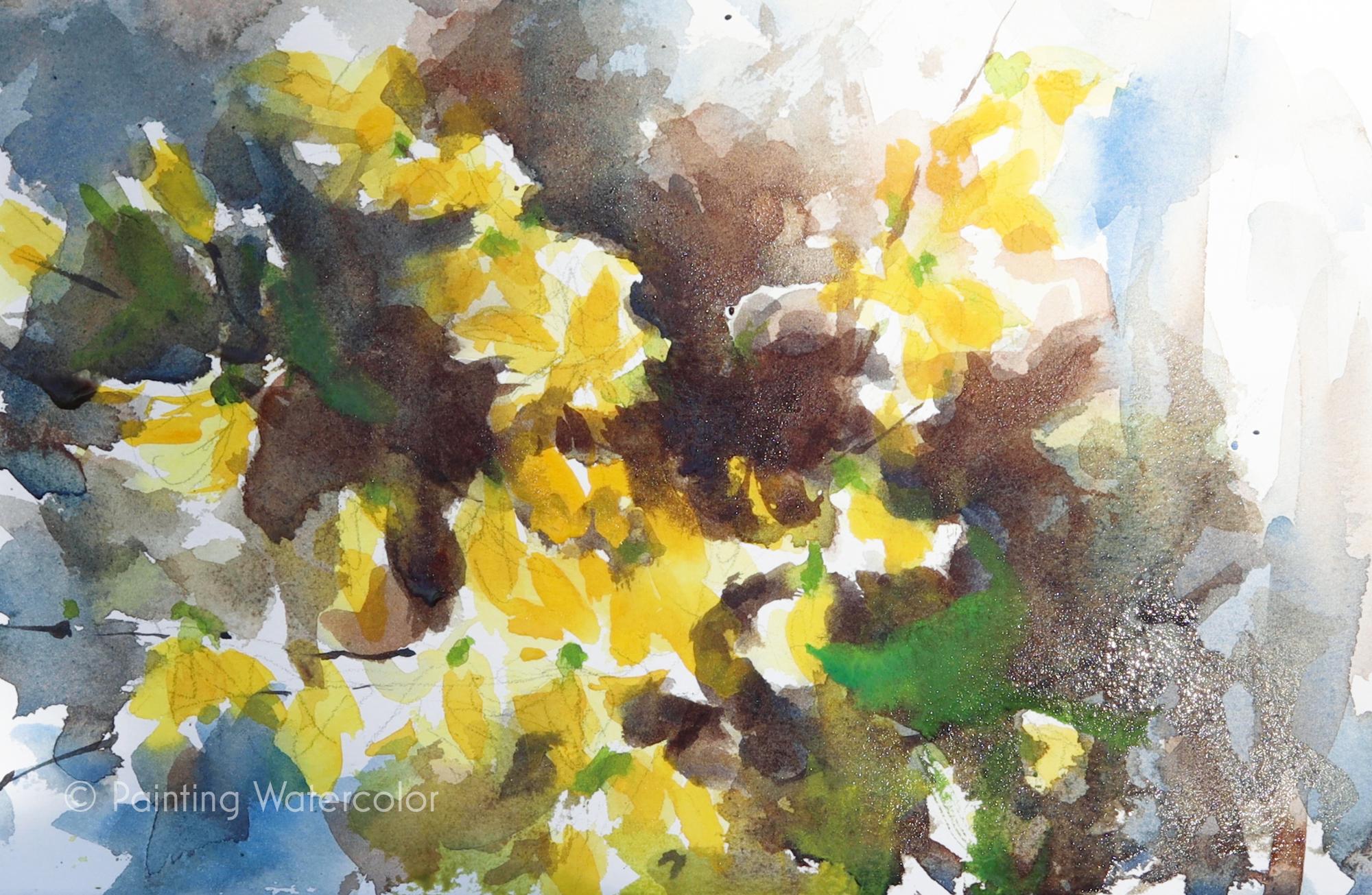 Forsythia Sketch Painting Tutorial Watercolor Painting Tutorial 6