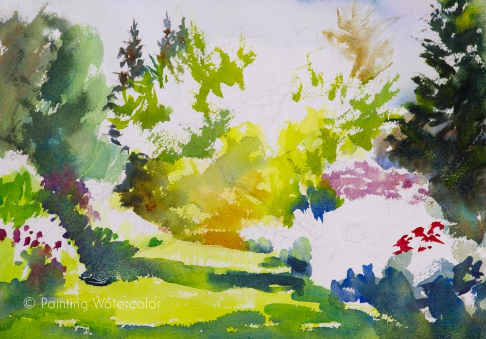 Garden Path Painting Tutorial Watercolor Painting Tutorial 6